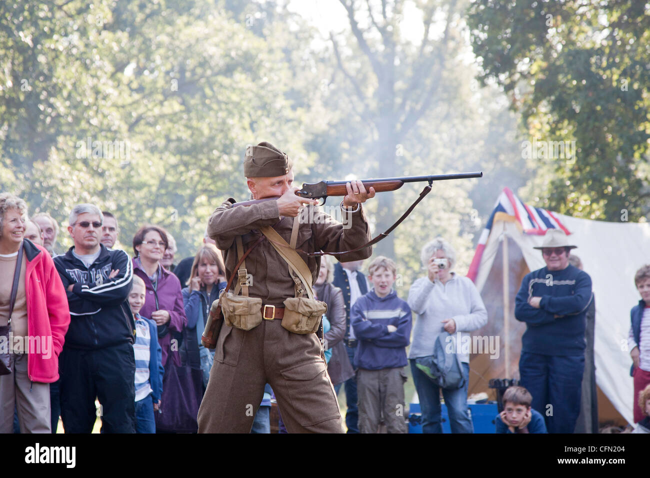 Demonstration of a Henry Martini Shotgun used by British army in second world war - Stock Image