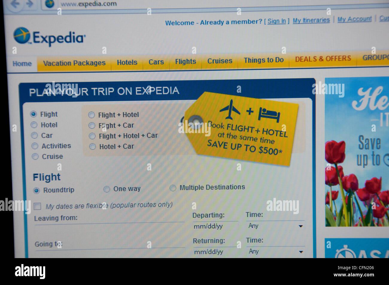 Expedia website screenshot - Stock Image