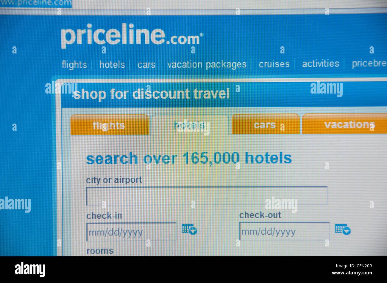 Priceline website screenshot - Stock Image