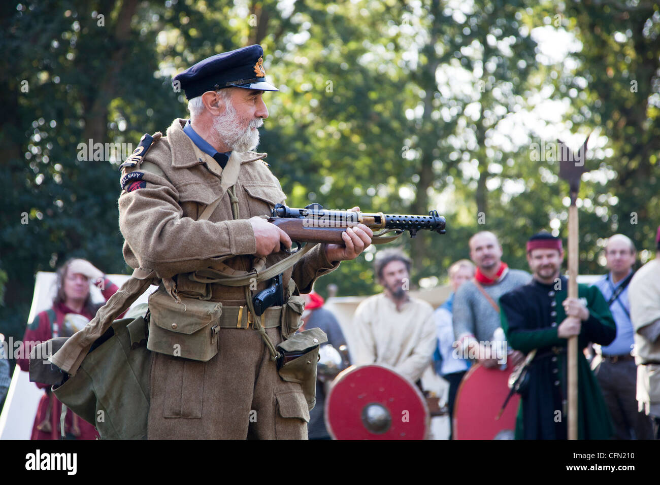 Demonstration of Lanchester submachine gun at living history