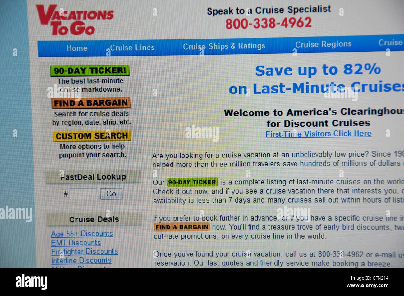 Vacations to go website screenshot - Stock Image