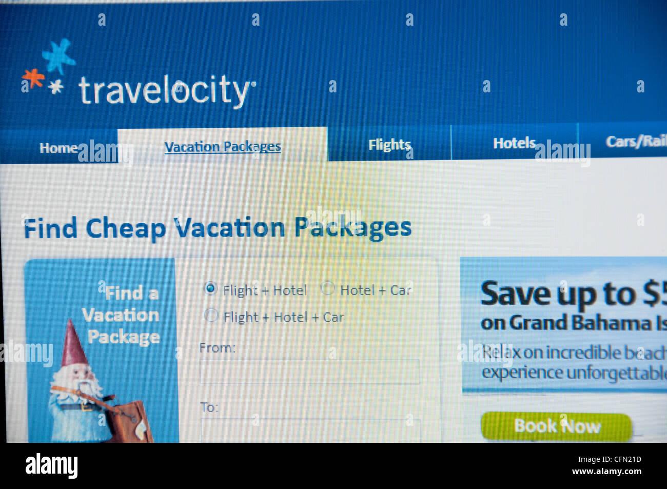 Travelocity website screenshot - Stock Image