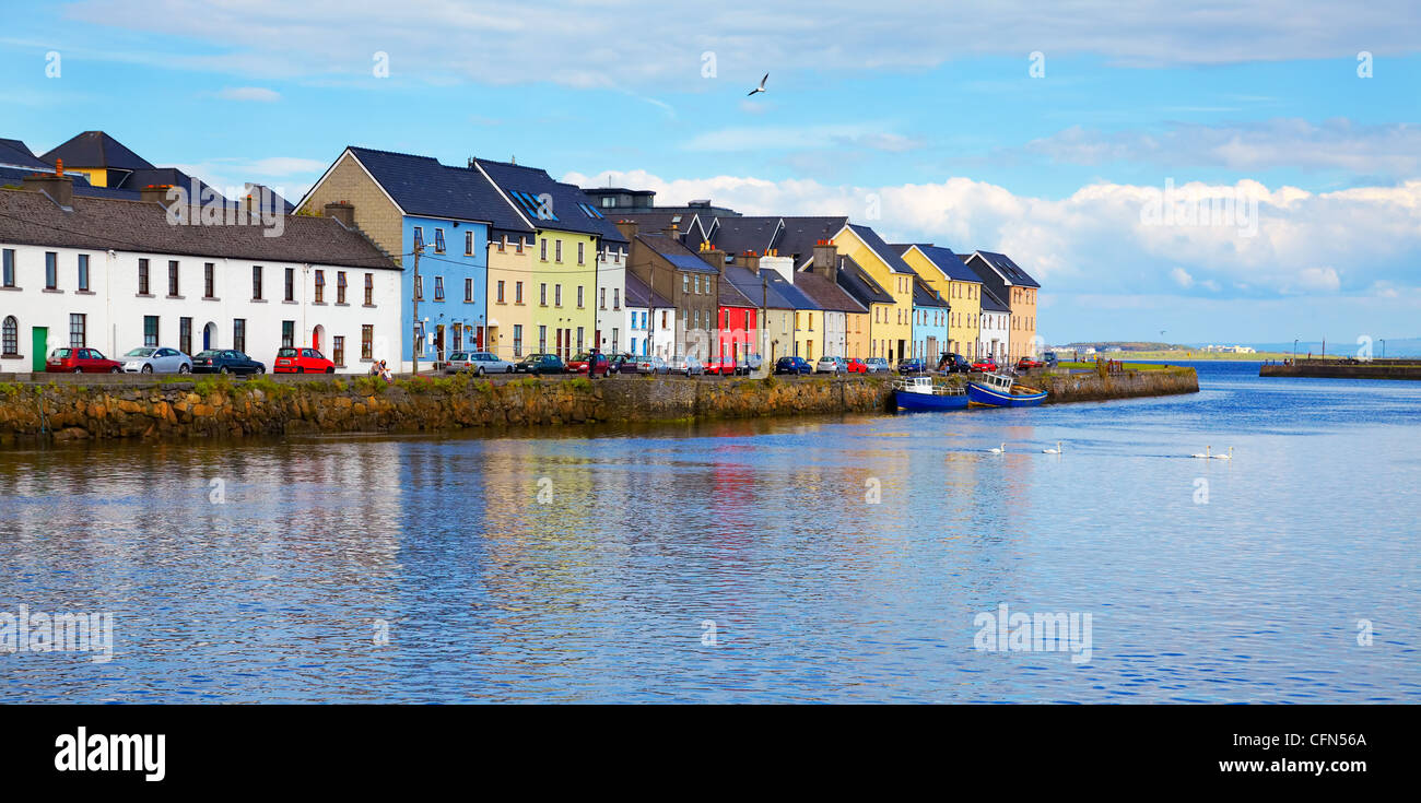 Panorama of the Claddagh in Galway city, Ireland. - Stock Image