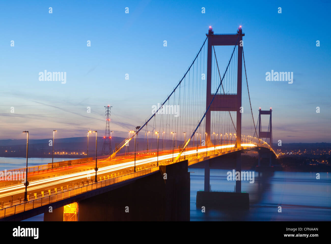 Severn Estuary and First Severn Bridge, near Chepstow, South Wales, Wales, United Kingdom, Europe - Stock Image
