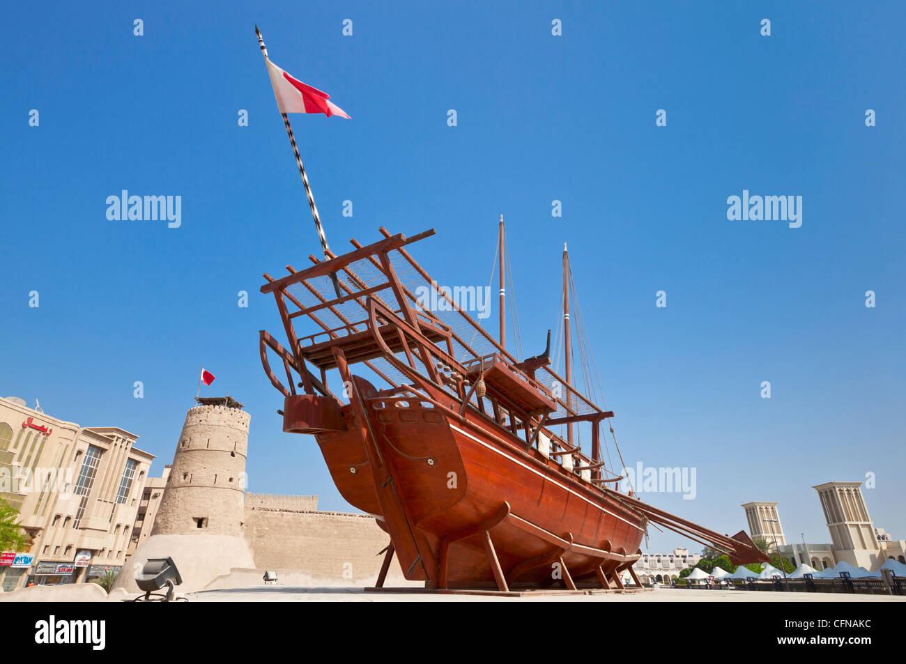 Traditional dhow, Dubai Museum, Al Fahidi Fort, Bur Dubai, United Arab Emirates, Middle East - Stock Image
