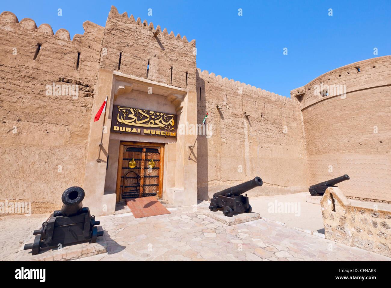 Cannons outside Dubai Museum, Al Fahidi Fort, Bur Dubai, United Arab Emirates, Middle East - Stock Image