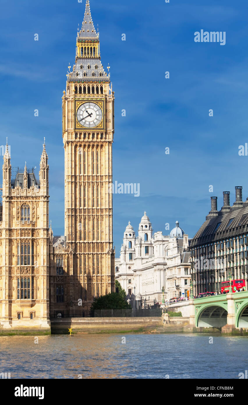 Big Ben, Houses of Parliament, UNESCO World Heritage Site, and River Thame, Westminster, London, England, United - Stock Image