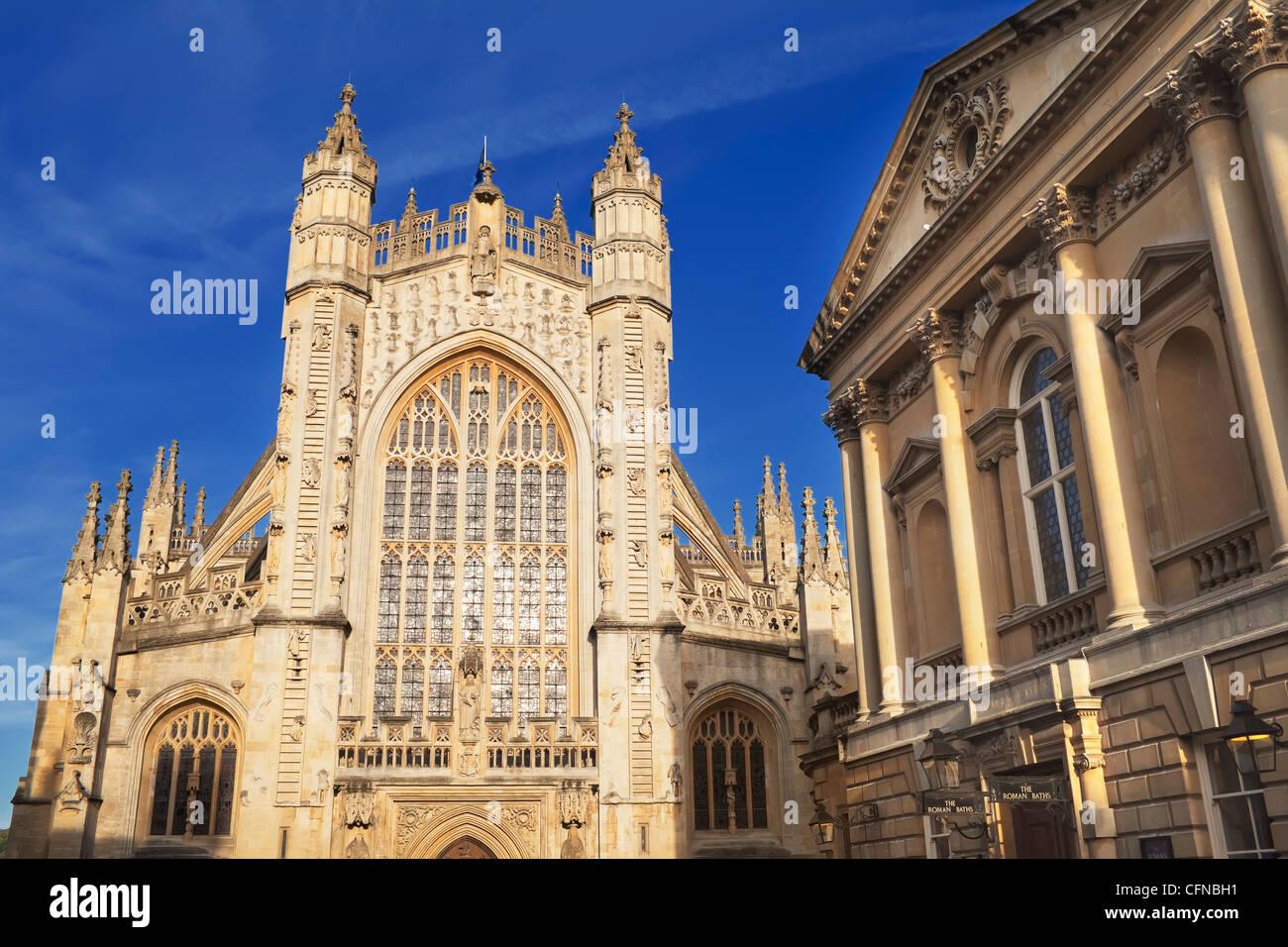 Bath Abbey and Roman Baths, Bath, UNESCO World Heritage Site, Somerset, England, United Kingdom, Europe - Stock Image