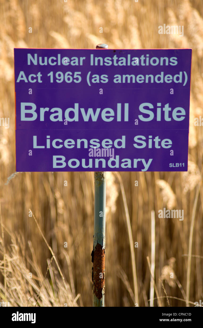 Sign at Bradwell Power Station - Stock Image