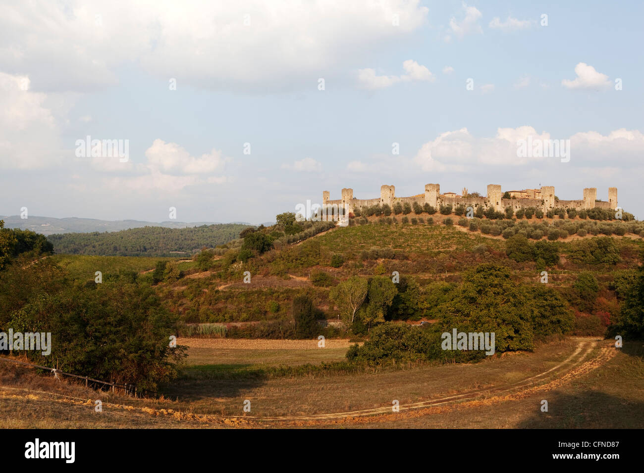 View of Monteriggioni with walls dating from the Middle Ages, Tuscany, Italy, Europe - Stock Image