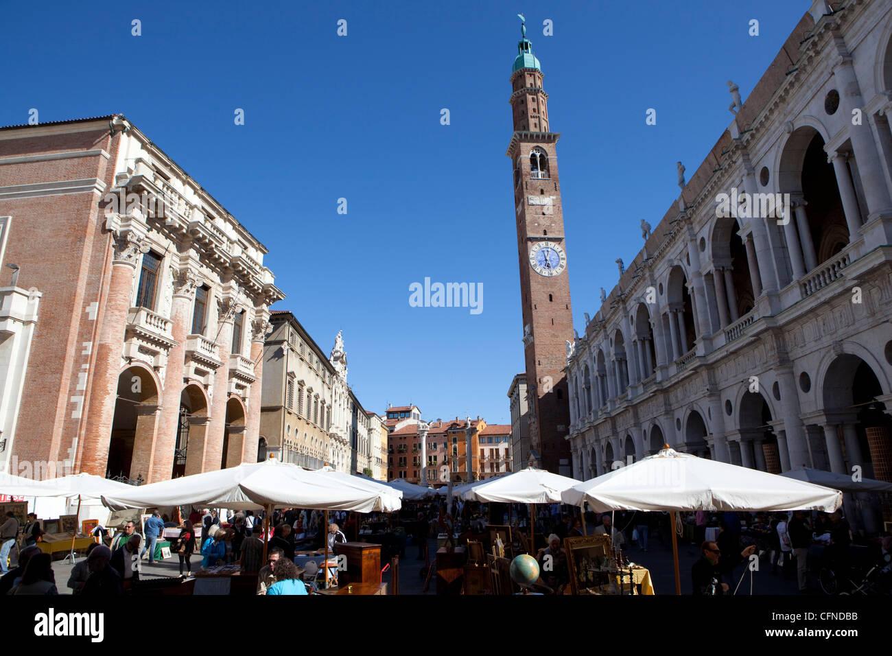 Piazza dei Signori and the Bissara tower, Vicenza, Veneto, Italy, Europe - Stock Image