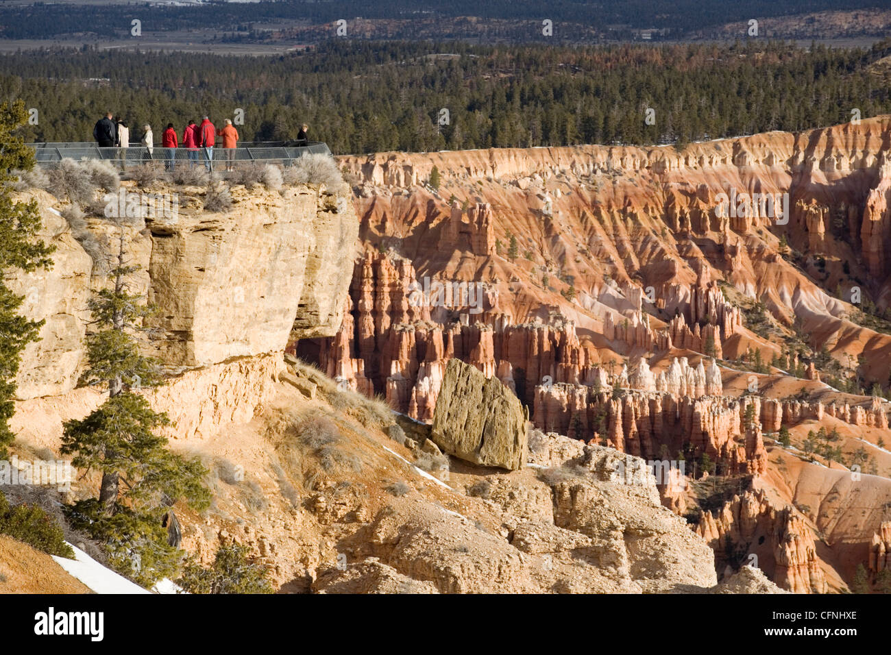 Tourists at viewppoint, Bryce Canyon National Park, Utah, United States of America, North America - Stock Image
