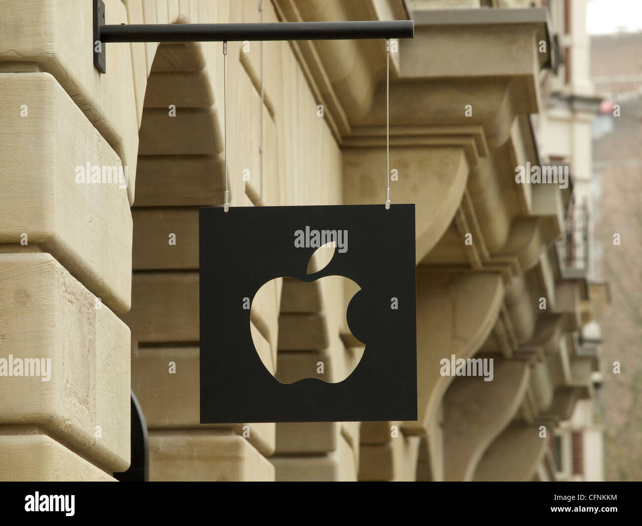 Apple Store sign on the monumental Hirsch building on Leidseplein square in Amsterdam - Stock Image
