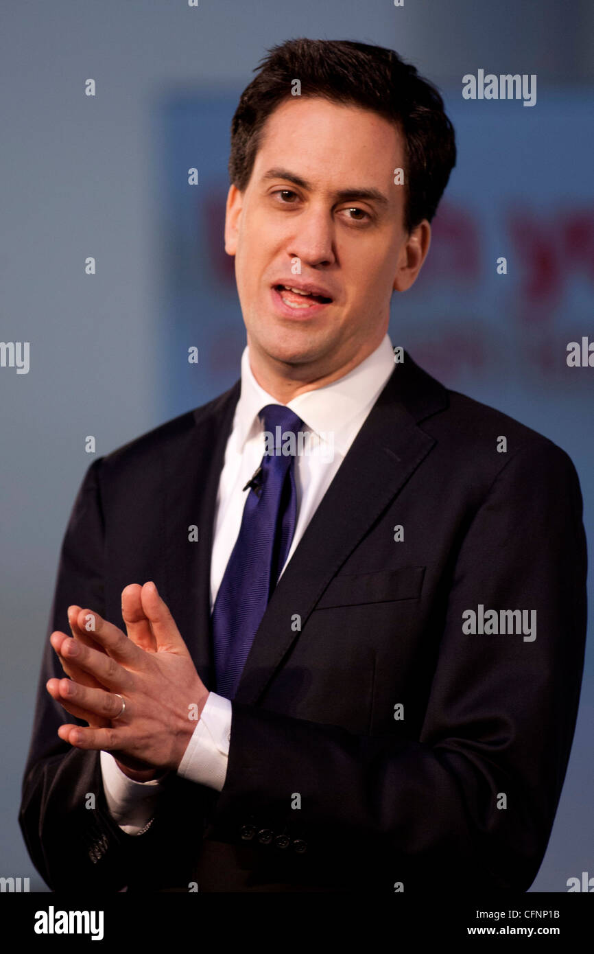 Labour and opposition Leader Ed Miliband pictured at Labour's Youth Conference at Warwick University . - Stock Image