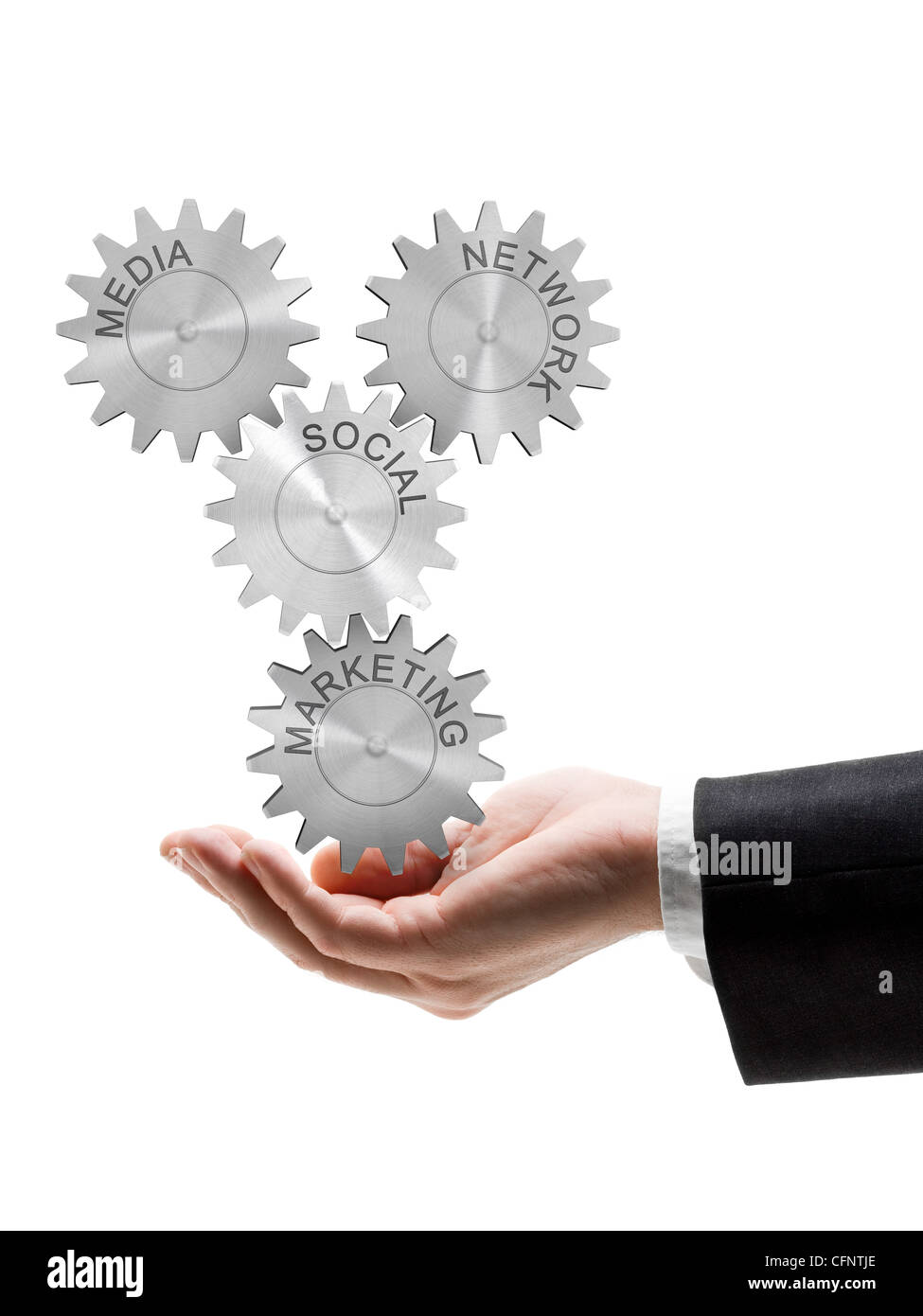 Business man holding gear wheel concept of social network, media and marketing - Stock Image