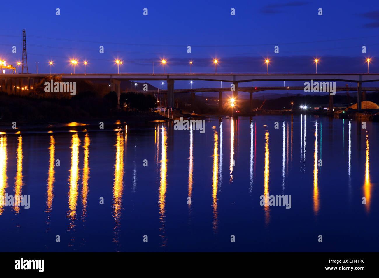 M4 bridge over the river Nedd at Briton Ferry Neath Wales UK . Stock Photo