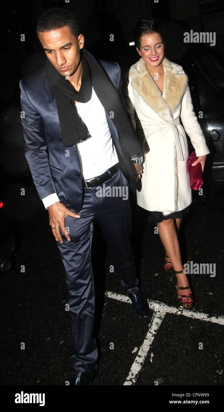Helen Flanagan and boyfriend Scott Sinclair leave the May Fair hotel London, England - 13.02.11 - Stock Image
