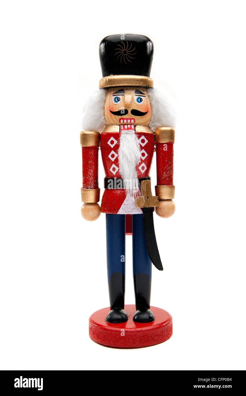 Traditional Figurine Christmas Nutcracker Wearing A Old Military Style Uniform - Stock Image