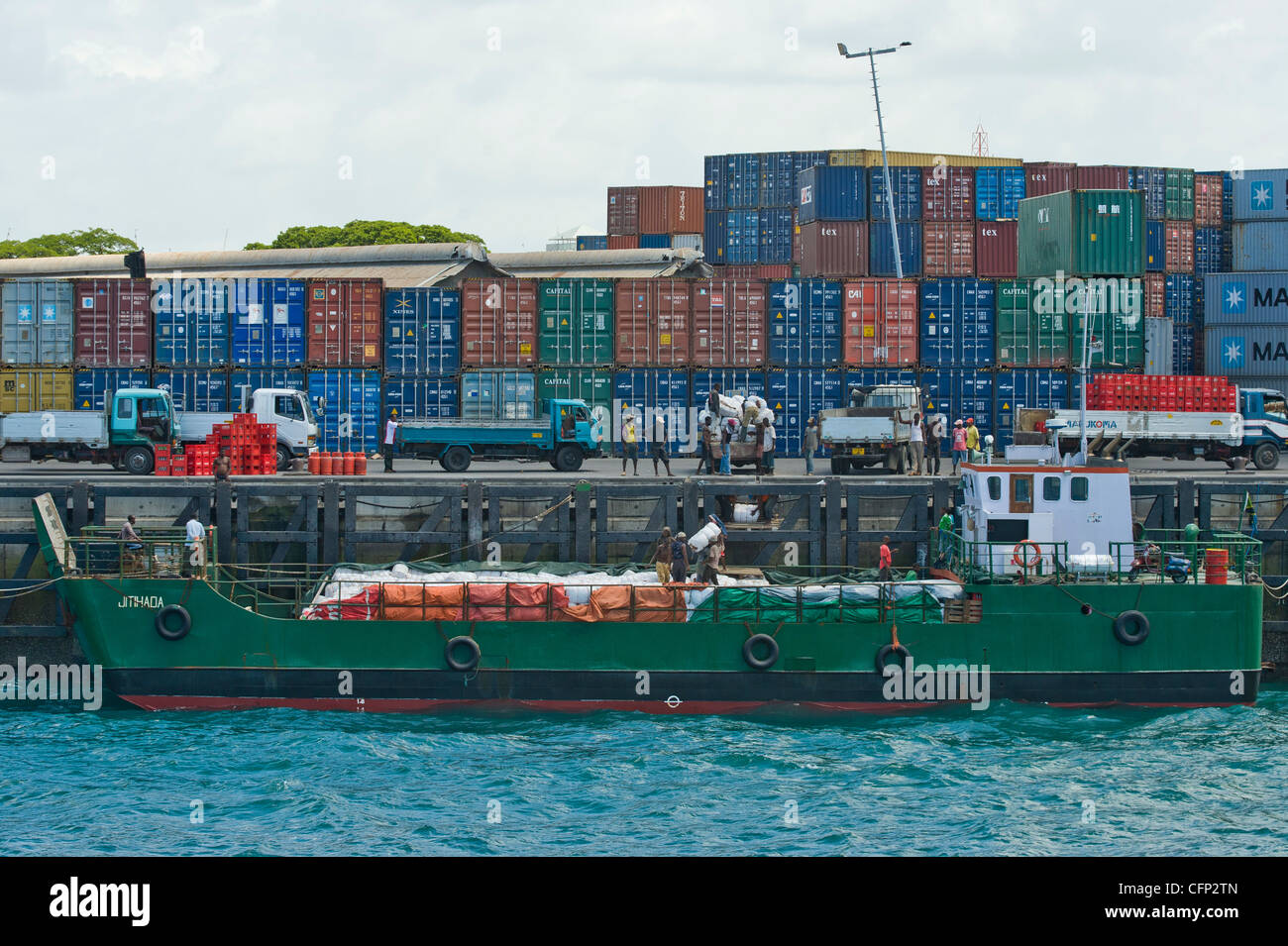 Containers at a terminal in the harbour of Stone Town Zanzibar Tanzania - Stock Image
