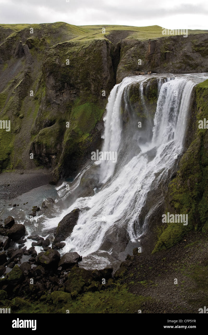 Fagrifoss waterfall, Lakagigar, Iceland - Stock Image