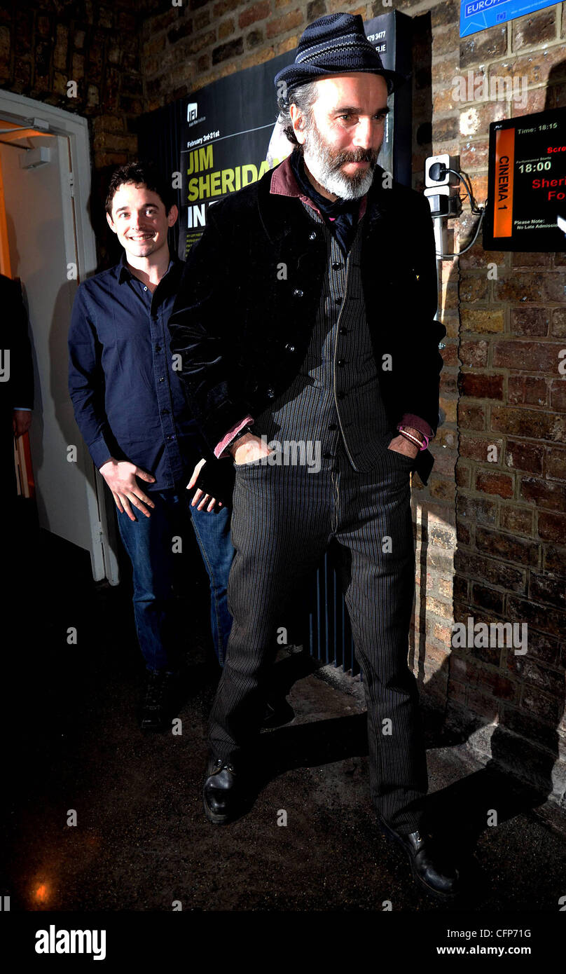 Hugh O'Connor and Daniel Day-Lewis at a screening: 'My Left Foot' at the start of the Jim Sheridan In - Stock Image
