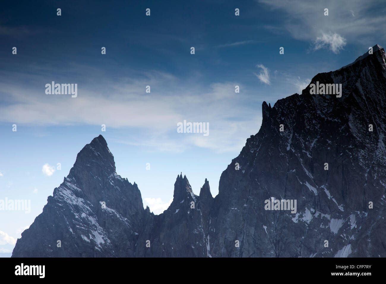 Mont Blanc Massif, Courmayeur, Val d'Aosta, Italy, Europe - Stock Image