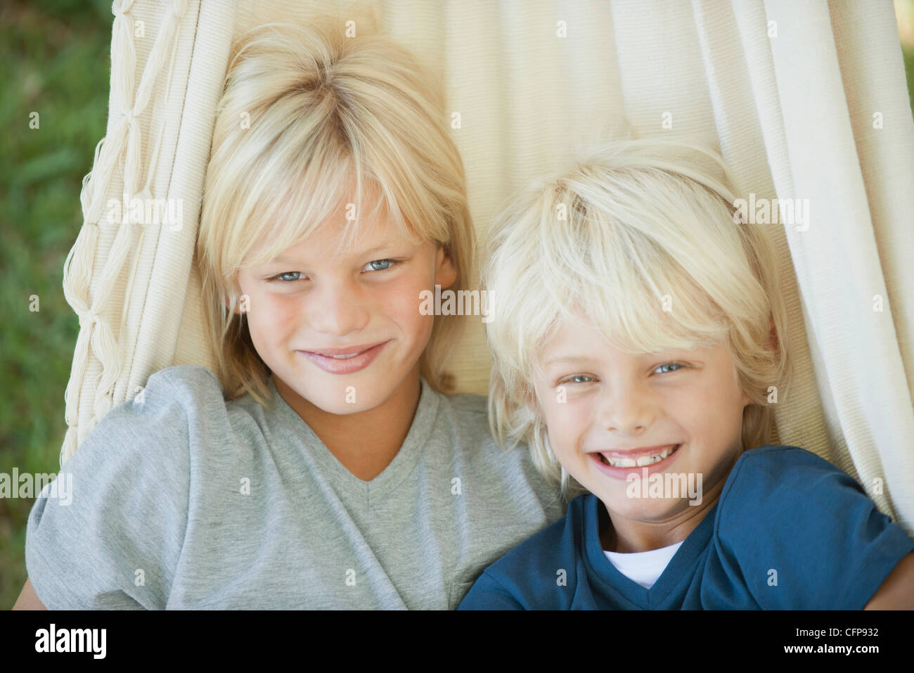 Young brothers, portrait - Stock Image