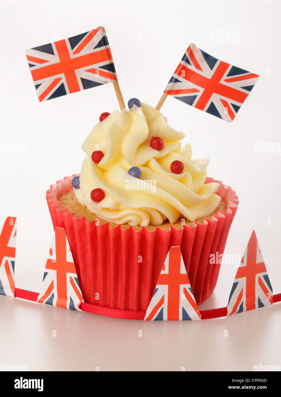 BRITISH CELEBRATION CUPCAKE - Stock Image