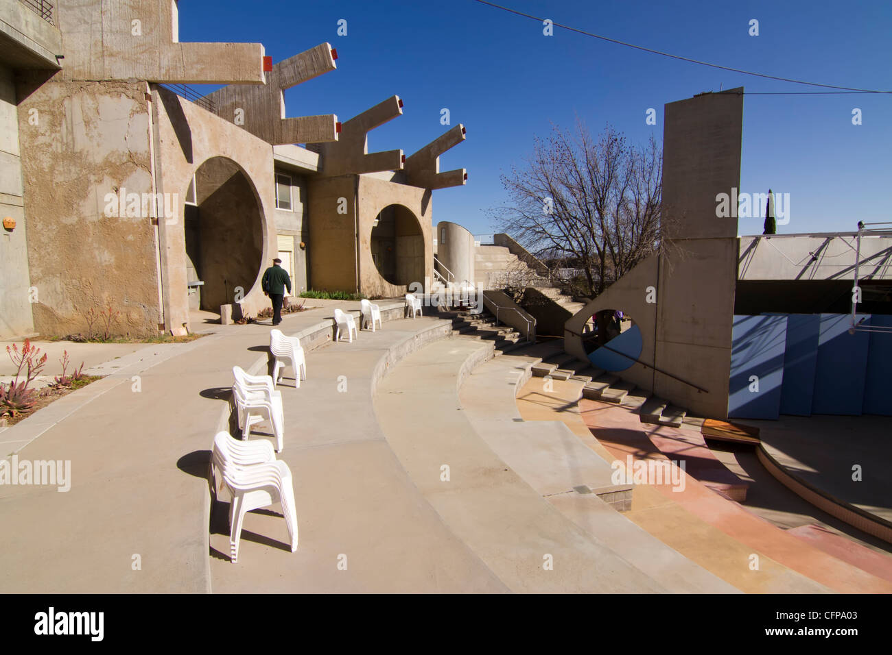 Arcosanti, an experimental town in the desert of Arizona, built to embody Paolo Soleri's concept of arcology. - Stock Image