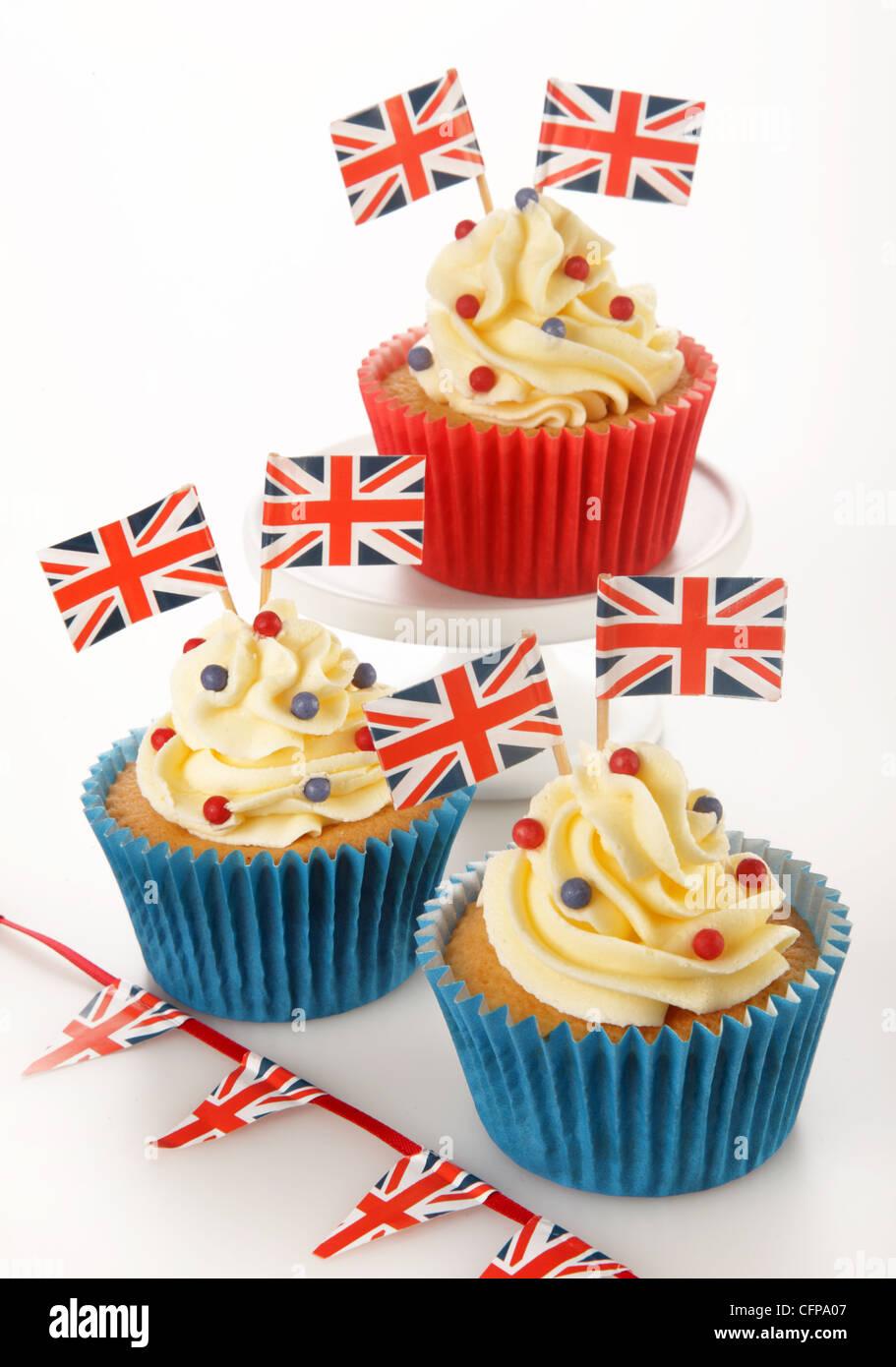 BRITISH CELEBRATION CUPCAKES - Stock Image