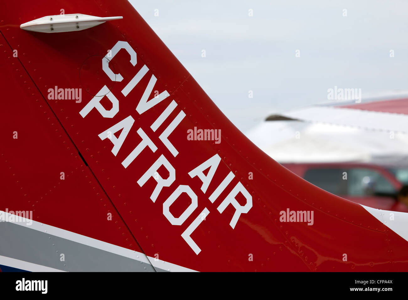 Civil Air Patrol tail flash on aircraft used in search and rescue. Stock Photo