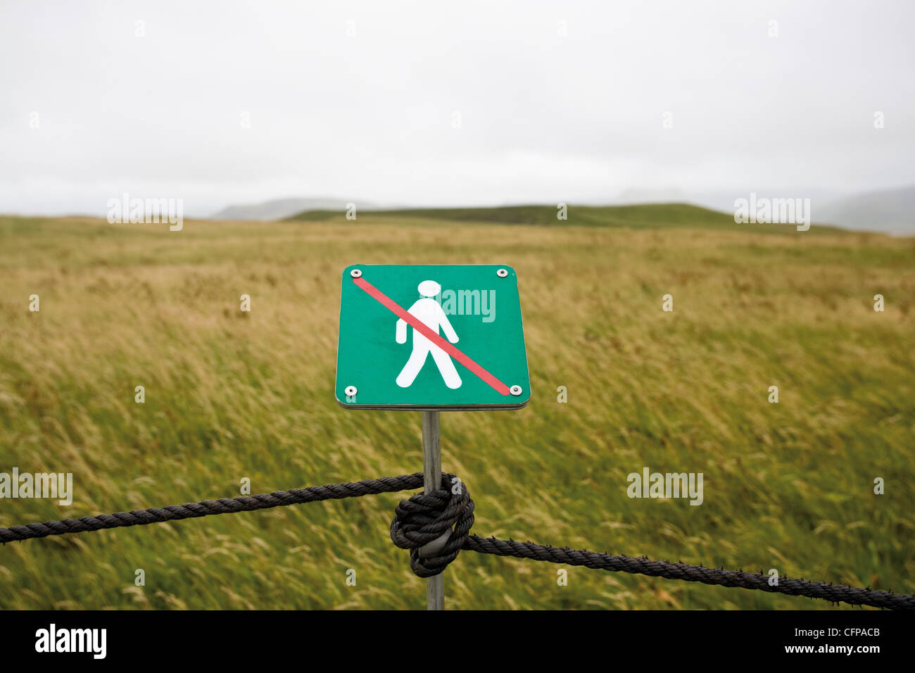 No walking sign posted for environmental protection in nature reserve, Dyrh—laey peninsula, Iceland - Stock Image