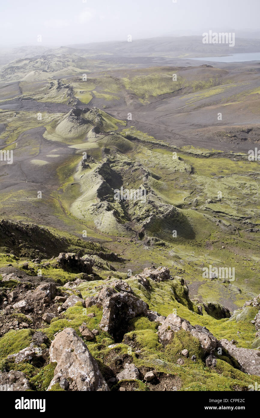Lakagigar volcanic fissure (also known as Craters of Laki or The Laki), Iceland - Stock Image