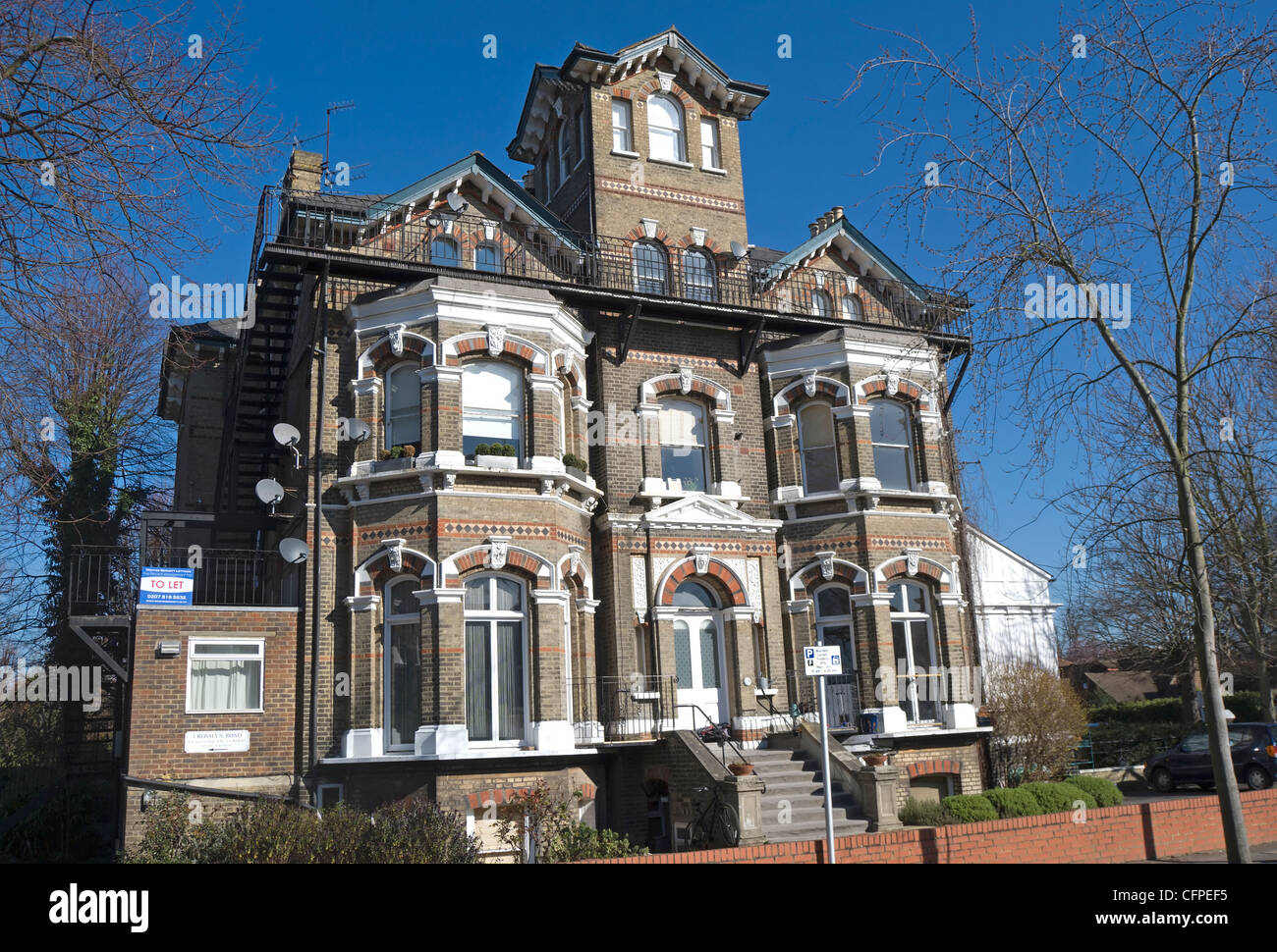 Victorian Gothic Style House In East Twickenham Middlesex England With Modern Ground Floor Extention To Left