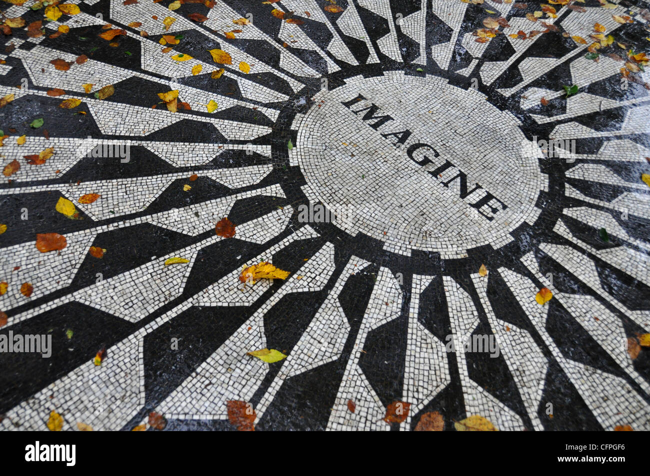 John Lennon Memorial, Central Park, New York, USA - Stock Image