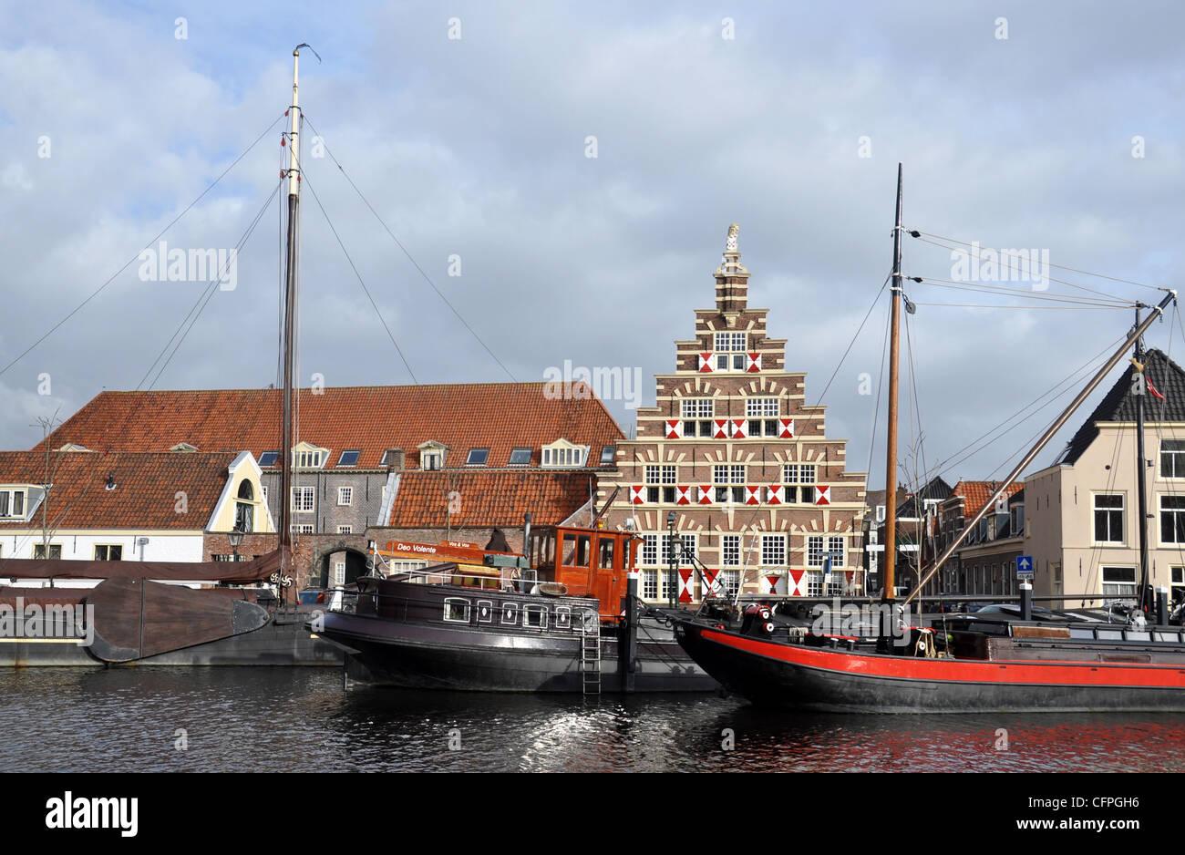 Historical carpenters wharf, Leiden, Netherlands - Stock Image