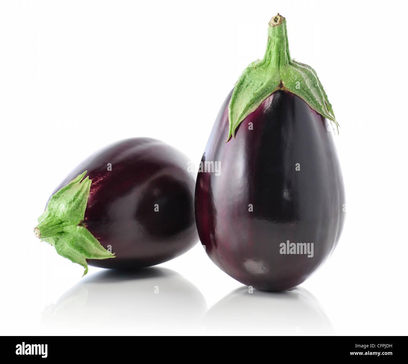 eggplants on white background - Stock Image