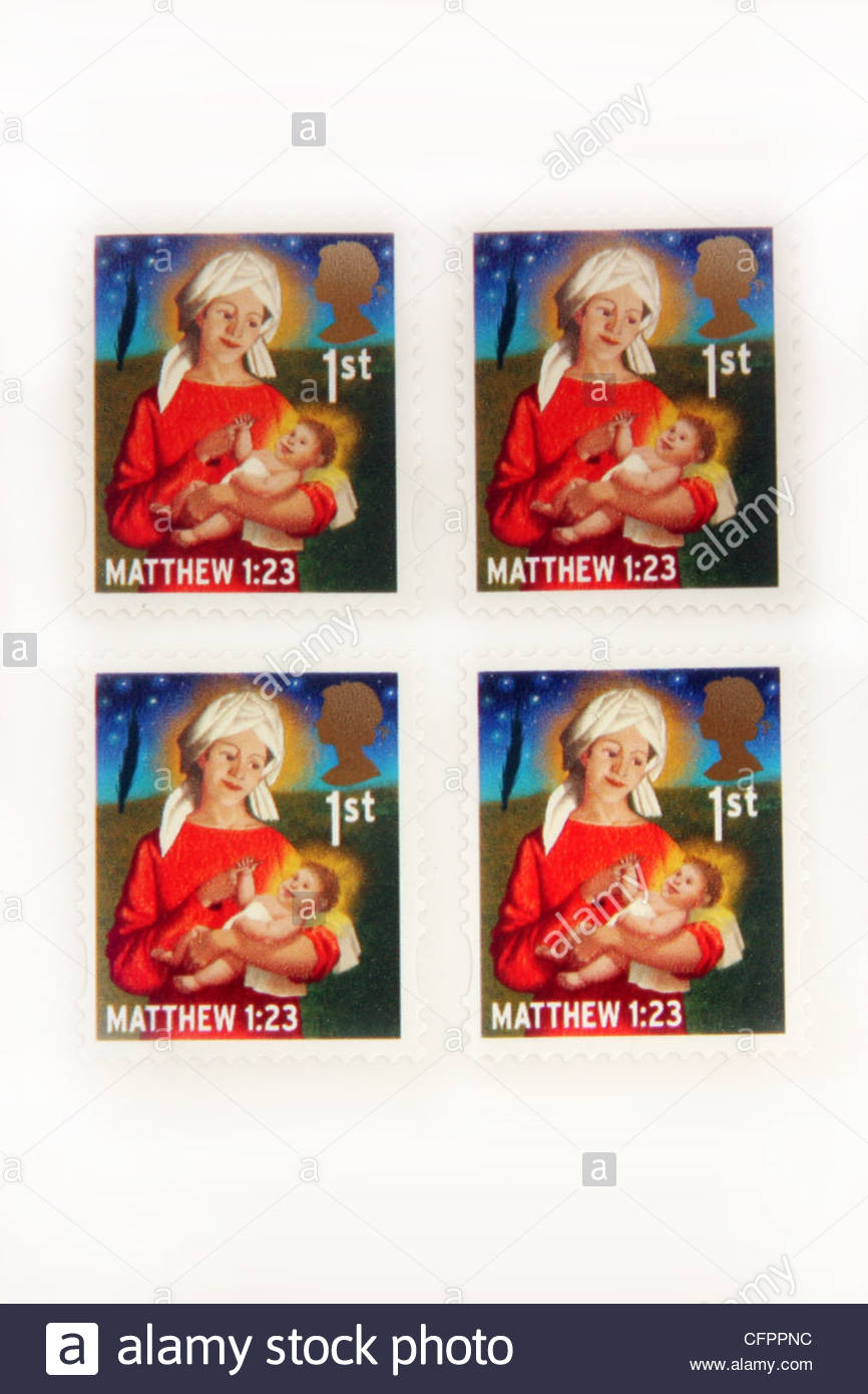 UK 1st class Christmas stamps. - Stock Image