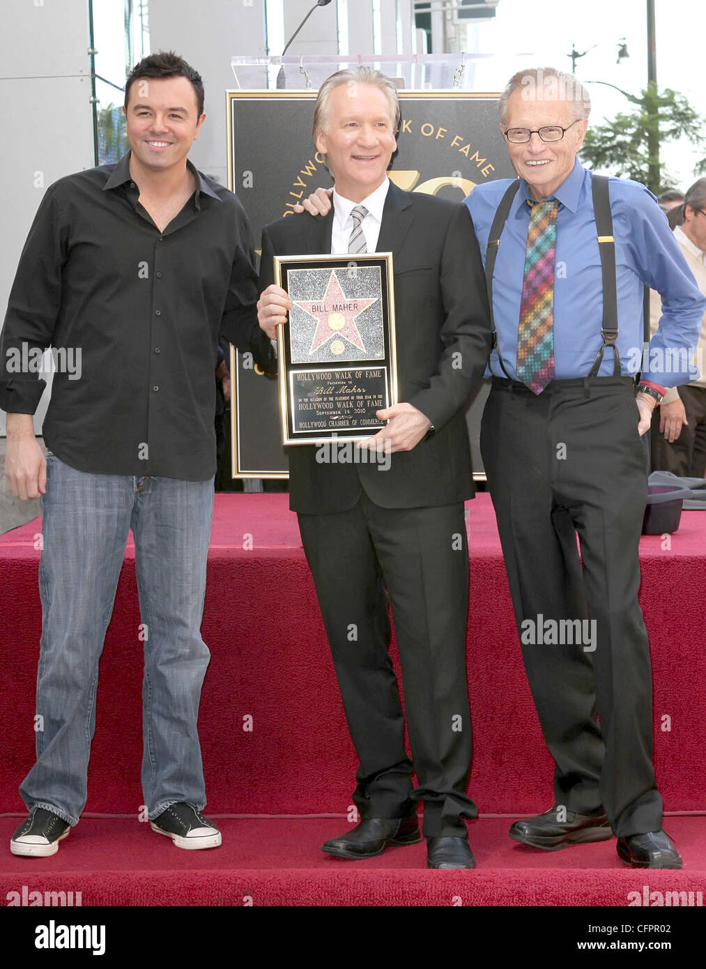 Seth MacFarlane, Bill Maher and Larry King Bill Maher receives the 2,417th star on the Hollywood Walk of Fame Los Stock Photo