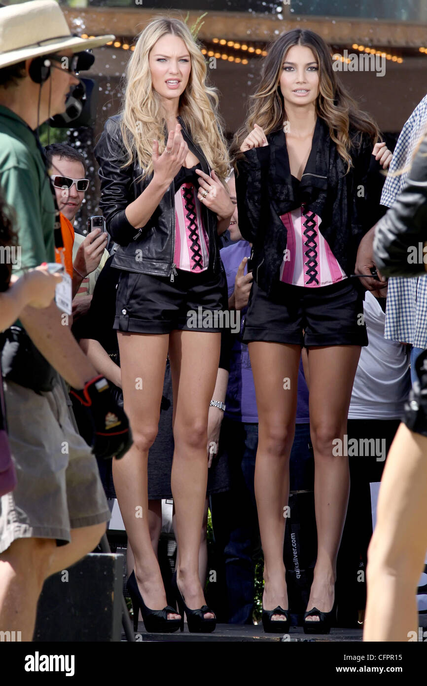 195d6350e70 Candice Swanepoel and Lily Aldridge models filming a promotion for  Victoria s Secret new  Bombshell  perfume in Beverly Hills Los Angeles