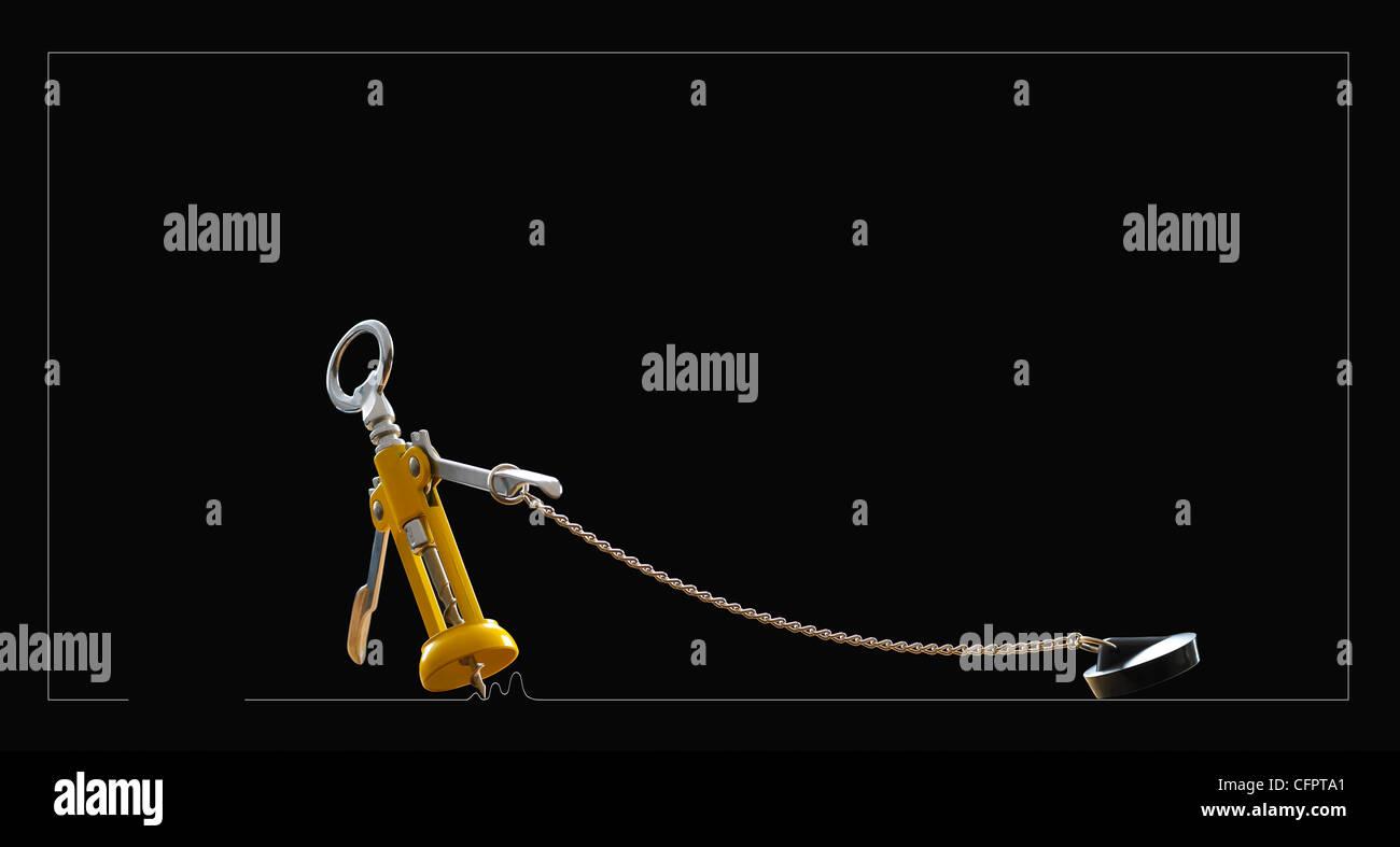 corkscrew,opener - Stock Image