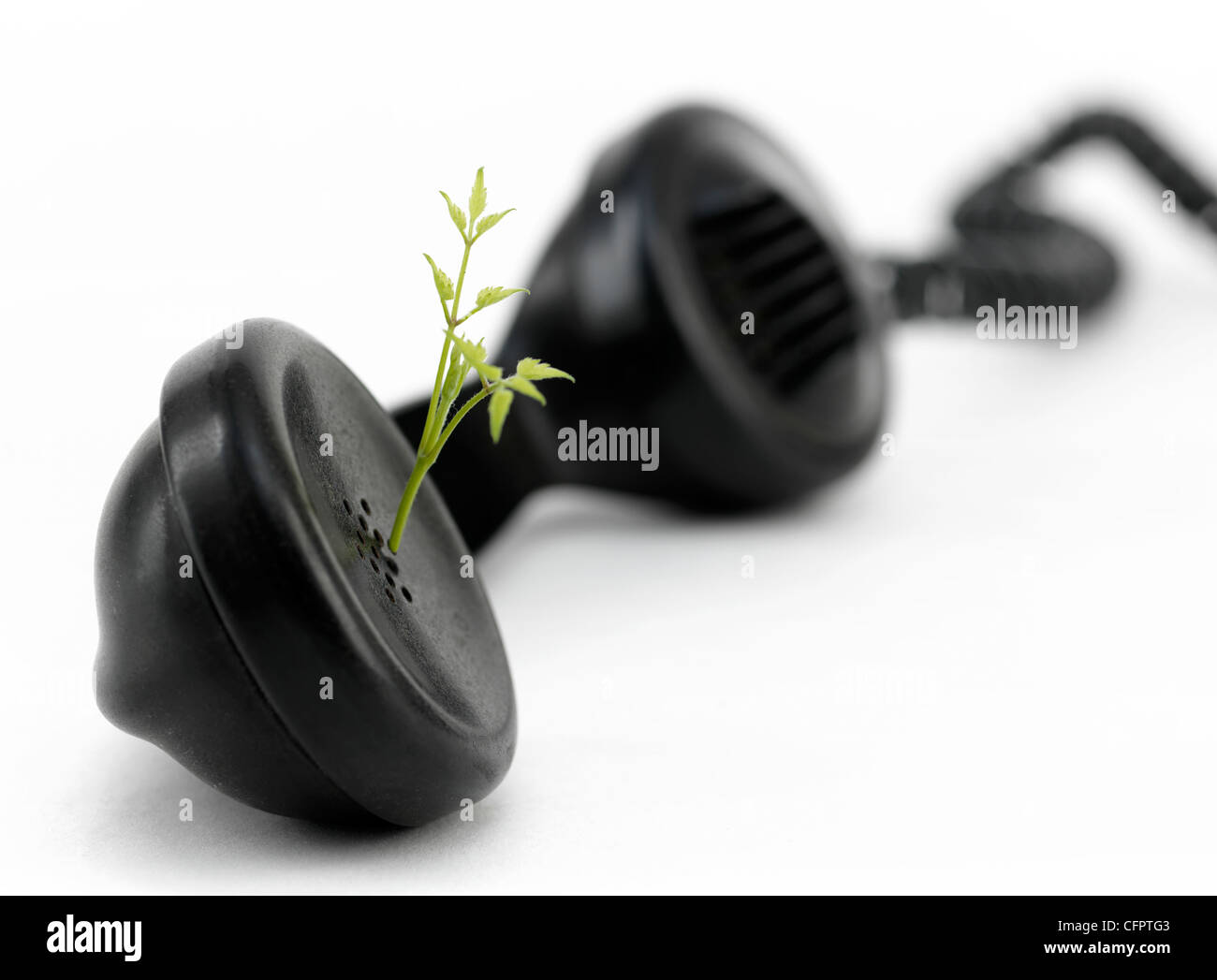 phone,plant,handset,globe,world,protect,recycling - Stock Image