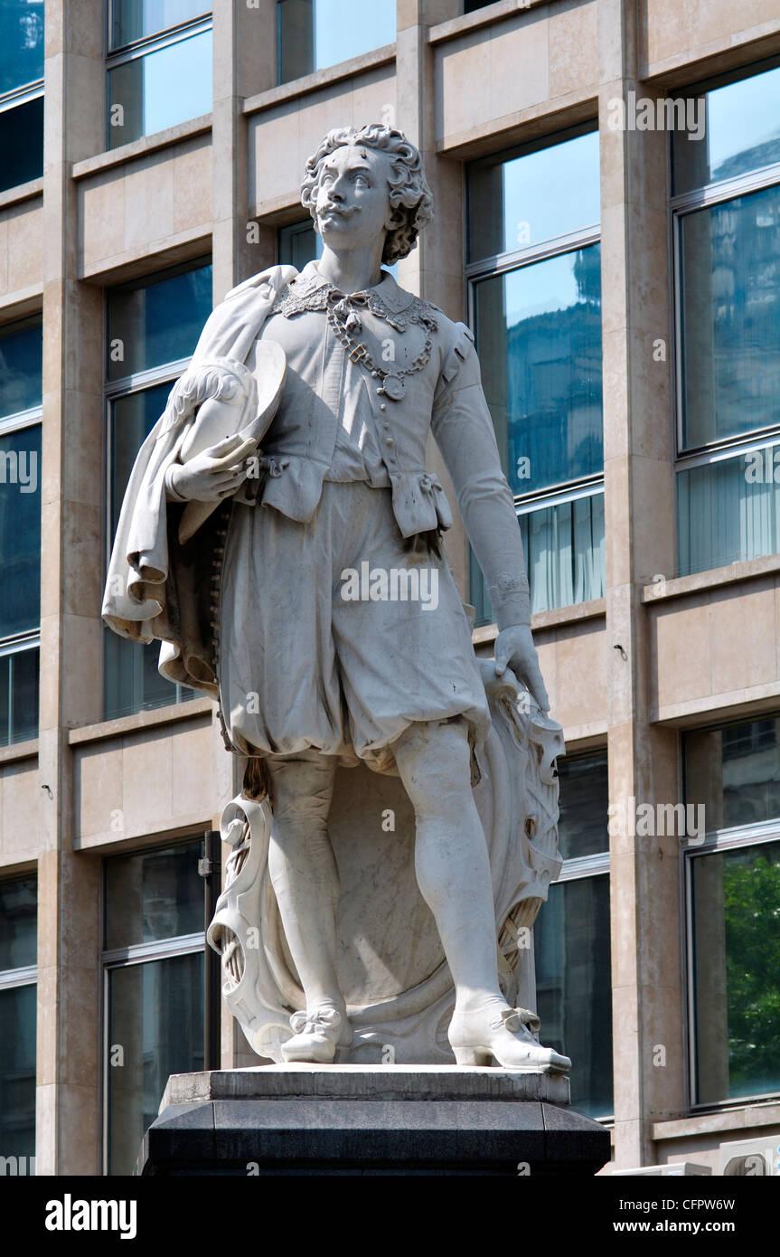 Belgium, Flanders, Antwerp, Statue of Antoon Van Dyck, Painter - Stock Image