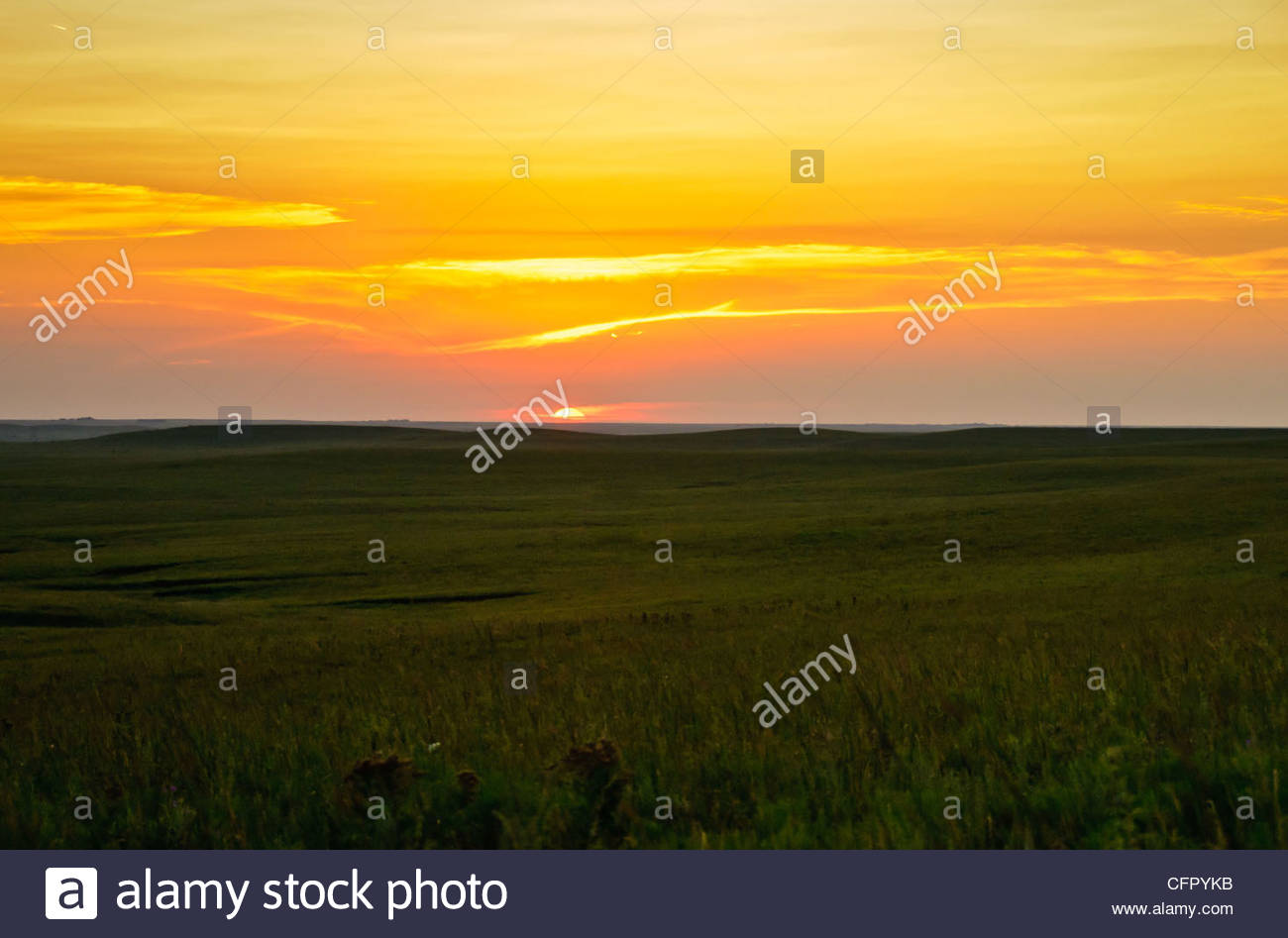 Flint Hills Sunset, Kansas Flint Hills, Cassoday, KS., Aug 23, 2008 - Stock Image