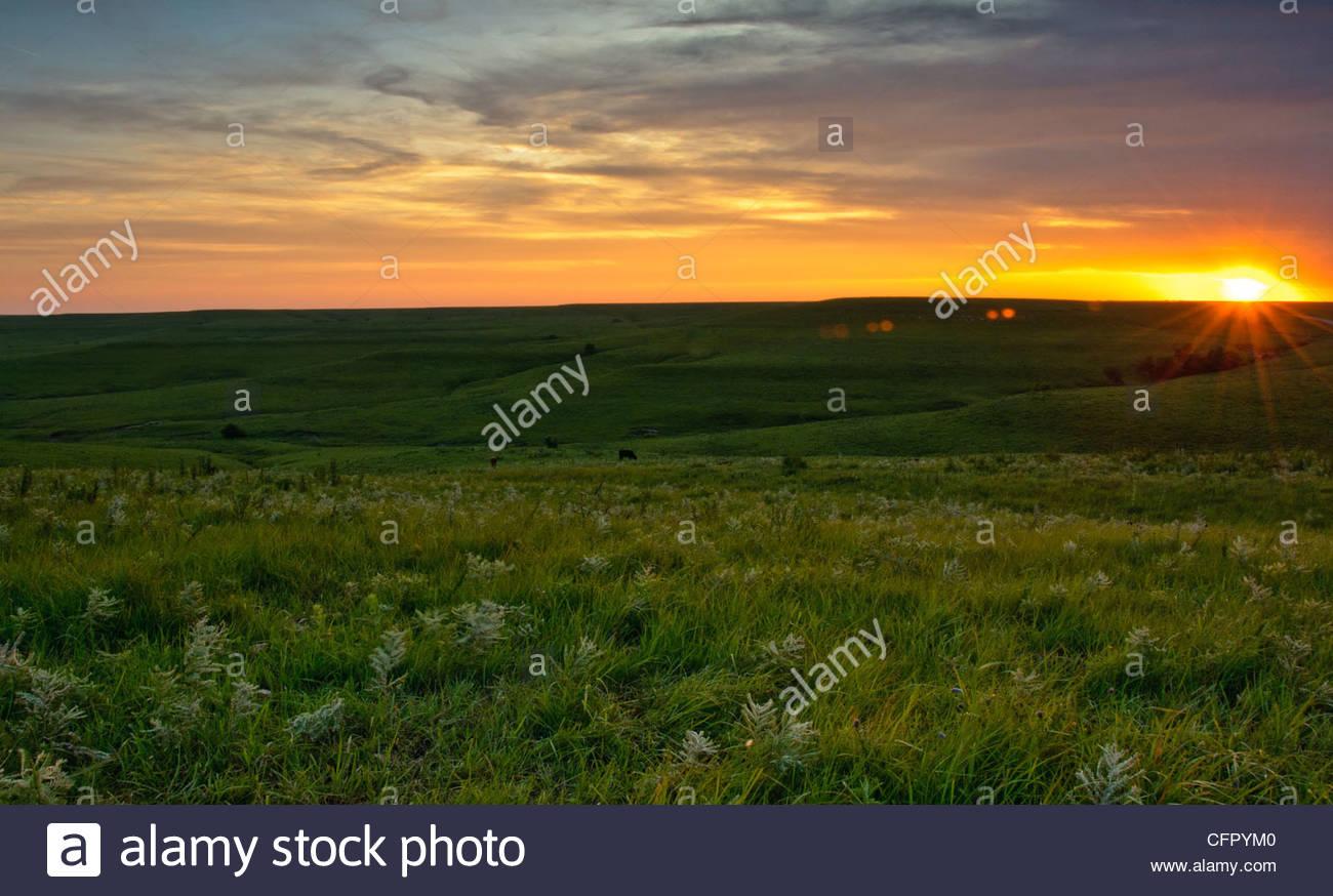 Texaco Hill at Sunset., Flint Hills - Kansas - Stock Image