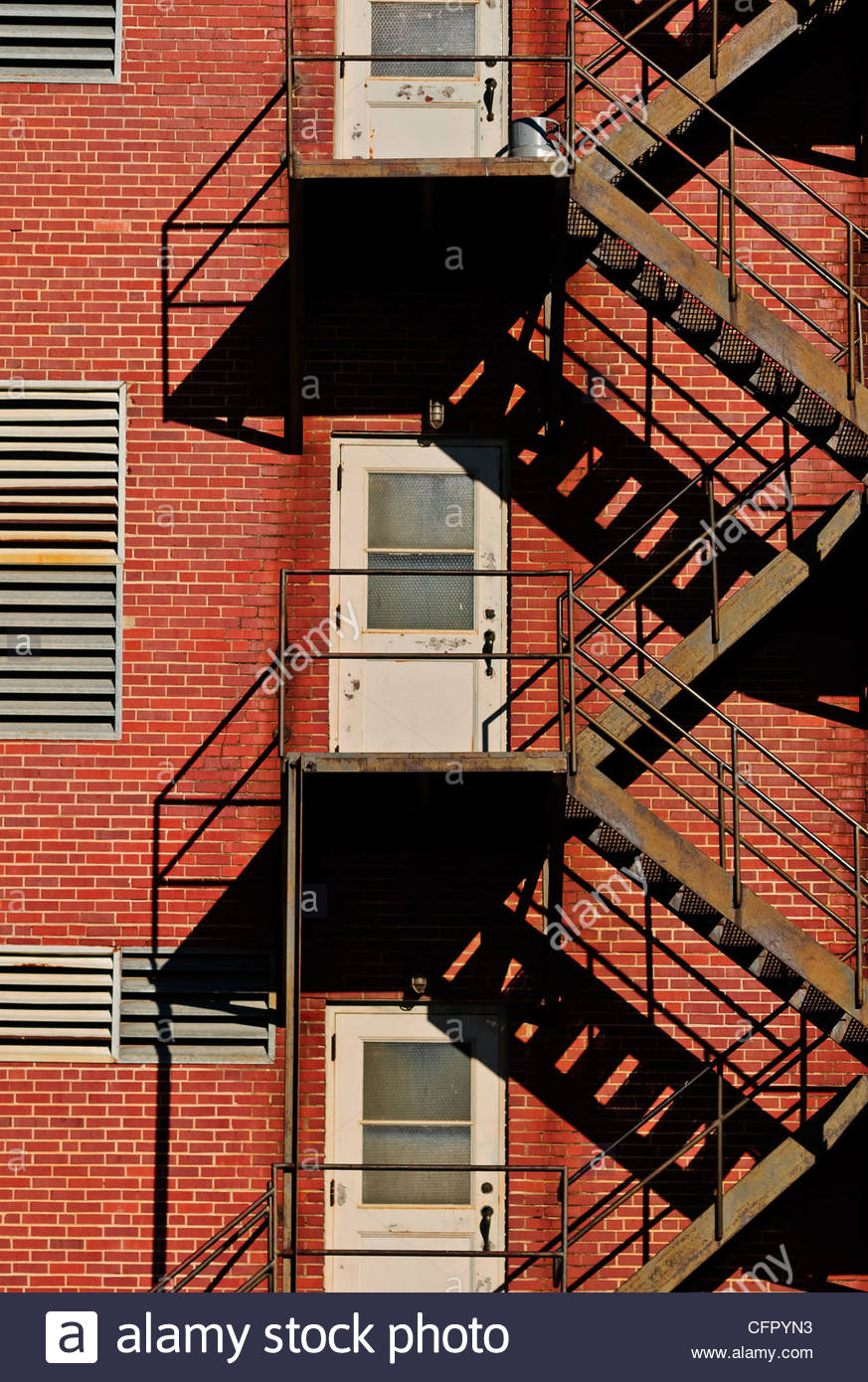 Fire escape on old building, Downtown Wichita Ks., Sept. 25 2011 - Stock Image