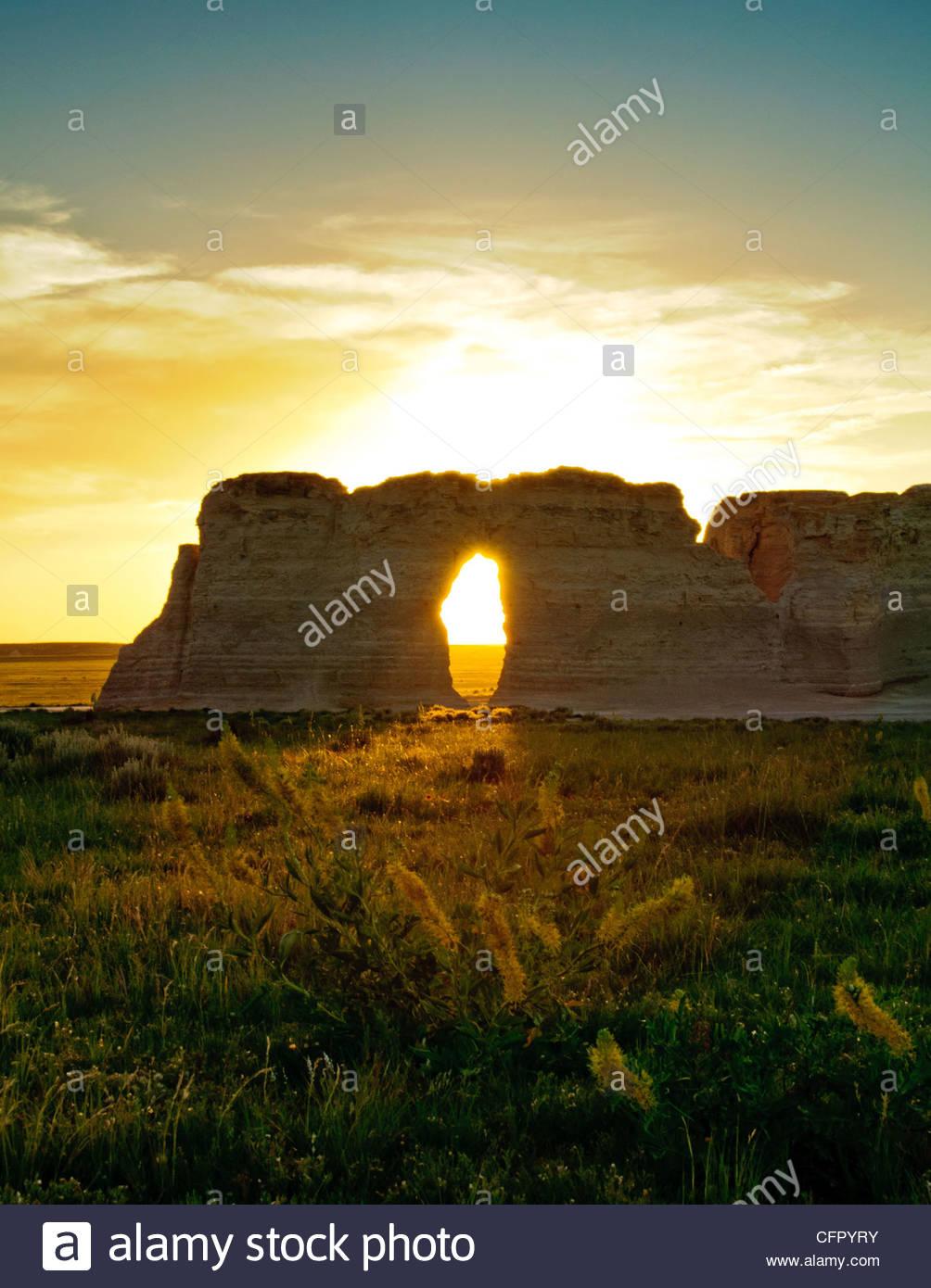 Monument Rocks, Sunset, Gove County, KS, June 4, 2010 - Stock Image