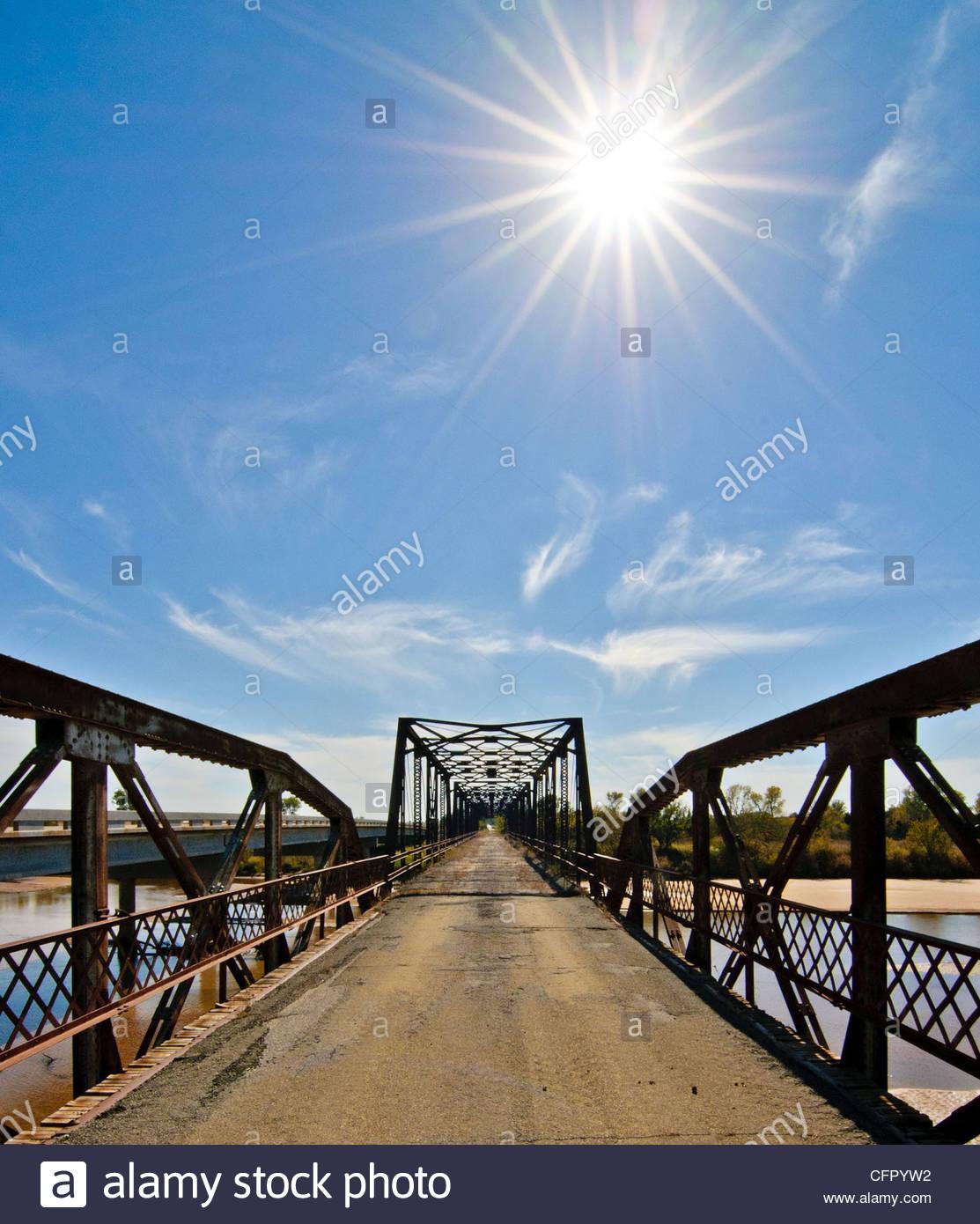 Old Bridge over Cimarron River, Rural Kingfisher County, Oklahoma, Oct 31., 2010 - Stock Image