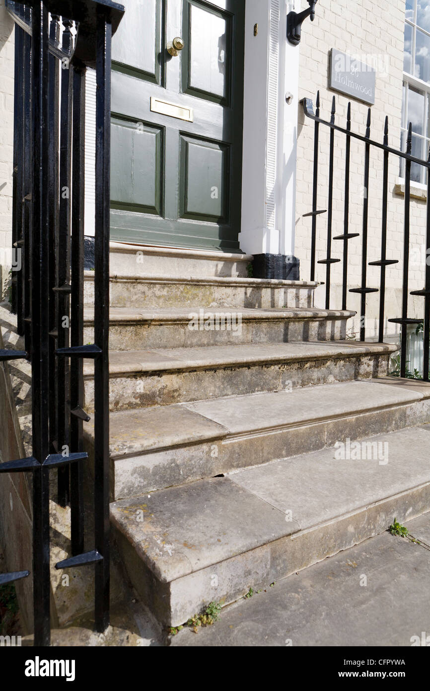 Old Stone Steps Leading To Front Door Uk Stock Photo