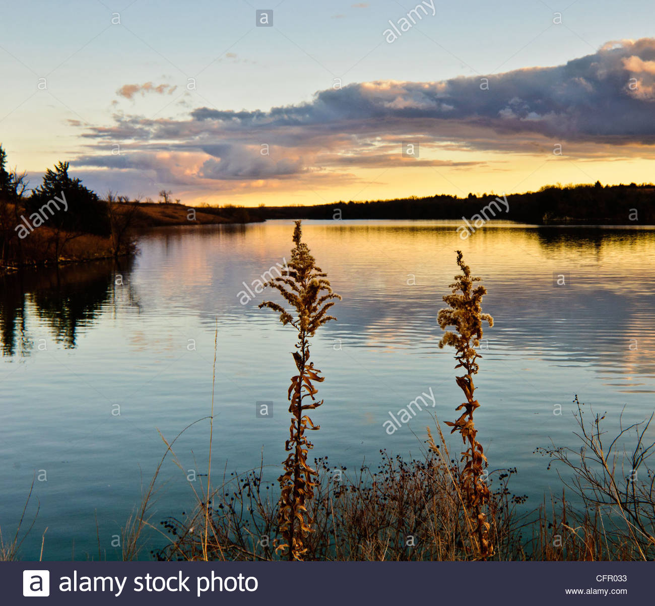 Geary State Lake at Sunset, Geary County, KS, Nov 13, 2010 - Stock Image